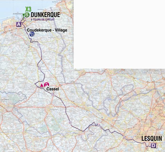 Streckenverlauf 4 Jours de Dunkerque 2009 - Etappe 6, Teil 1