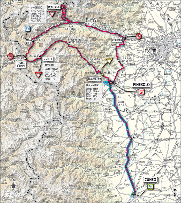 Streckenverlauf Giro d´Italia 2009 - Etappe 10