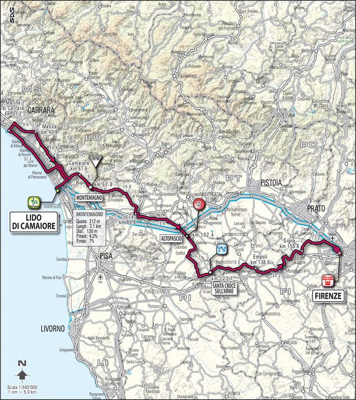 Streckenverlauf Giro d´Italia 2009 - Etappe 13