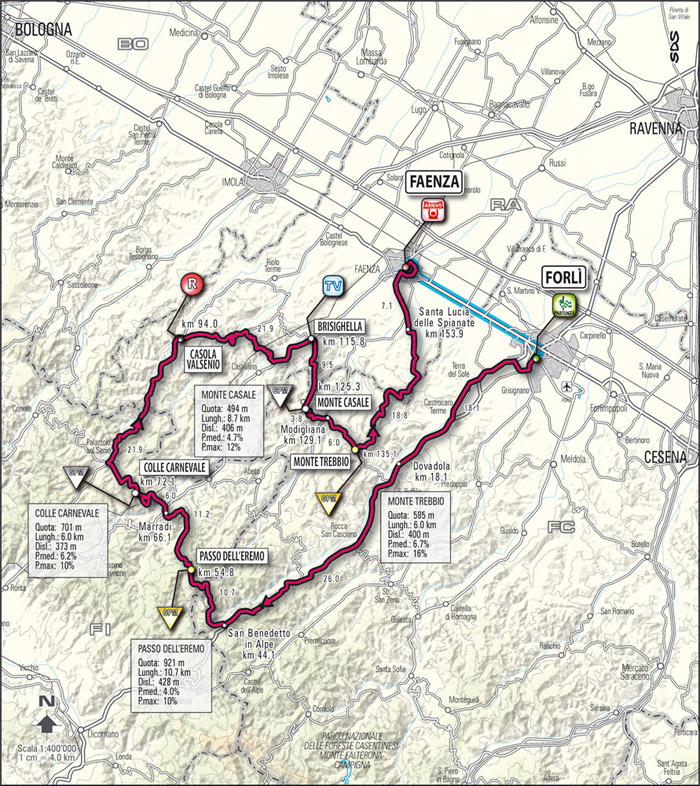 Streckenverlauf Giro d´Italia 2009 - Etappe 15