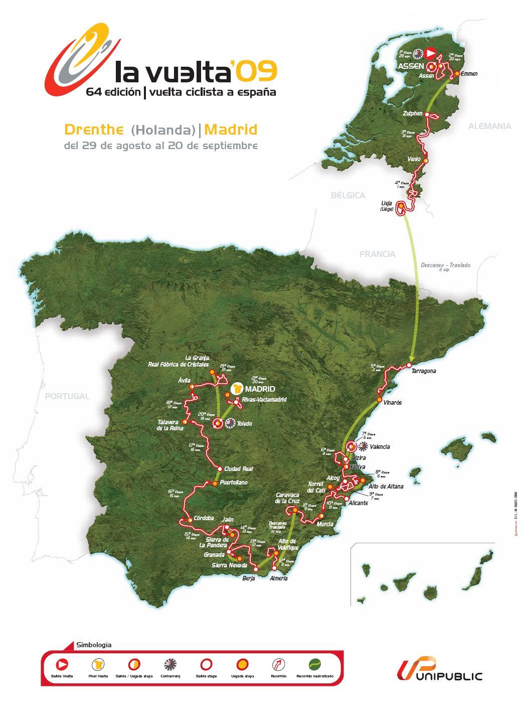 Streckenverlauf Vuelta a España 2009