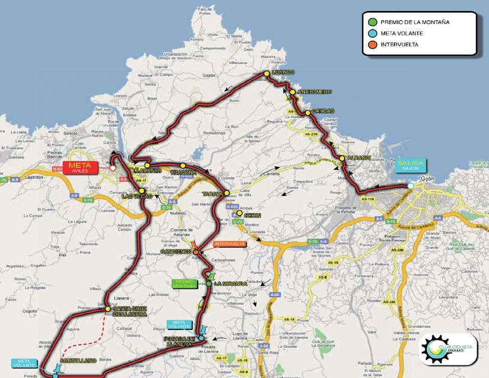 Streckenverlauf Vuelta Asturias Julio Alvarez Mendo 2010 - Etappe 3a