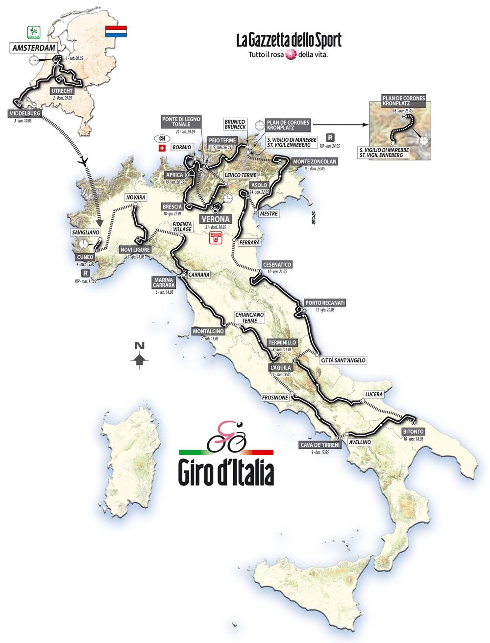 Streckenverlauf Giro d´Italia 2010