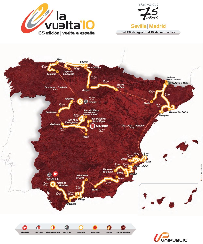 Streckenverlauf Vuelta a España 2010
