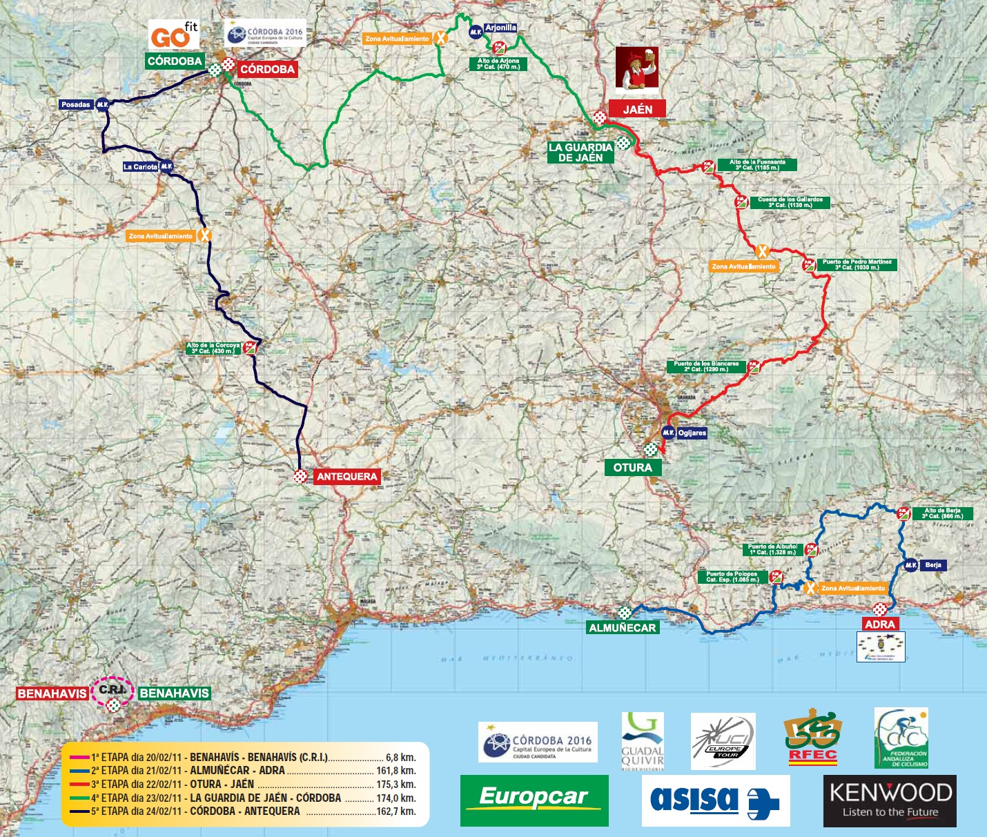 Streckenverlauf Vuelta a Andalucia Ruta Ciclista Del Sol 2011