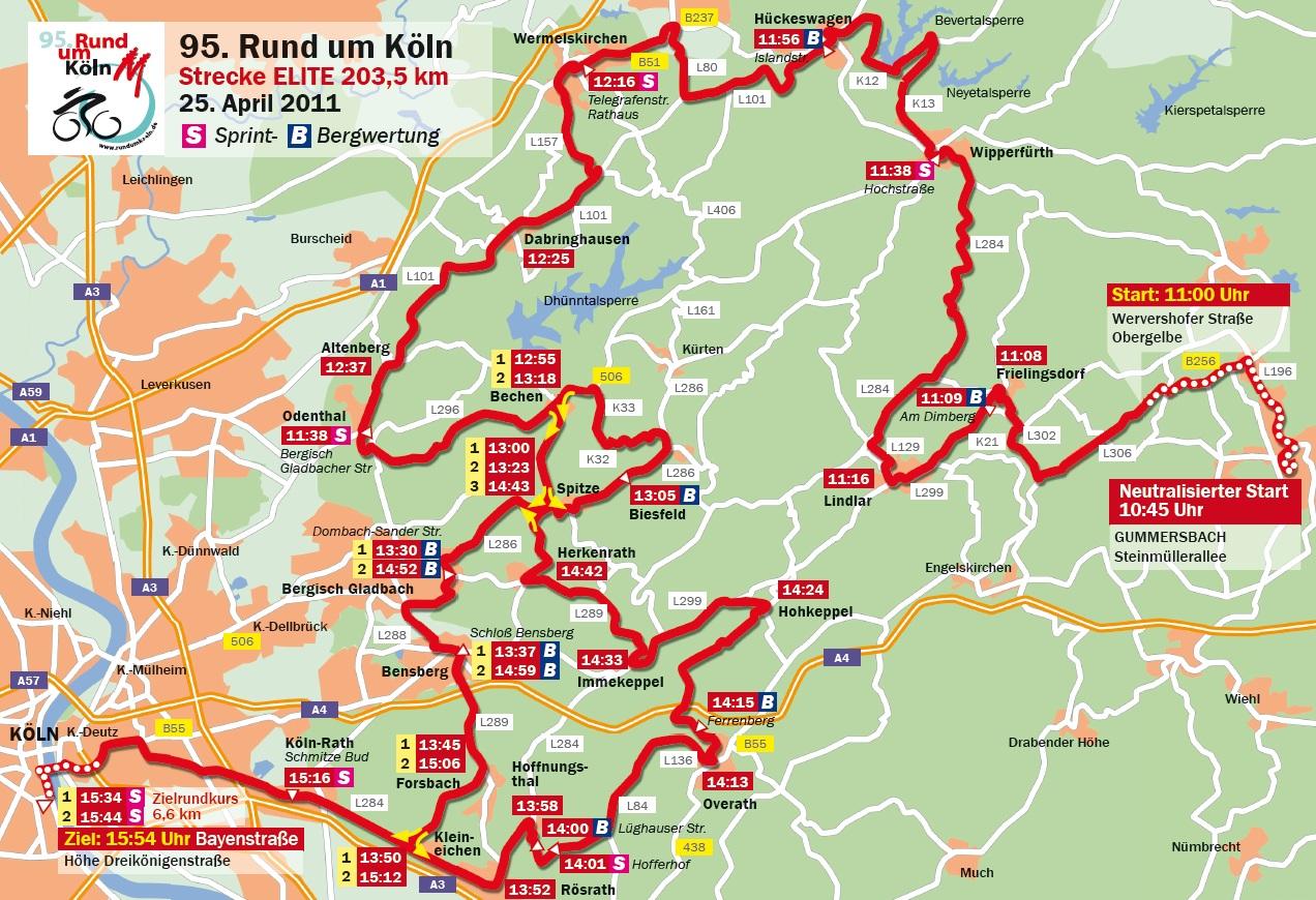 Streckenverlauf Rund um Köln 2011