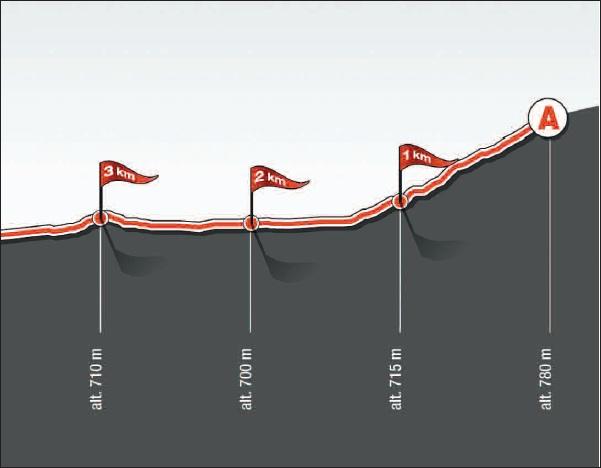 Höhenprofil Tour de Romandie 2011 - Etappe 2, letzte 3 km