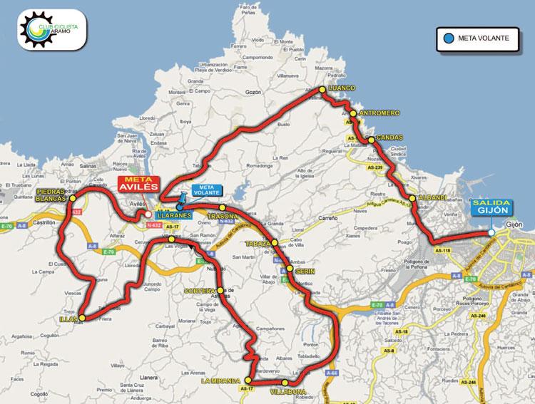 Streckenverlauf Vuelta Asturias Julio Alvarez Mendo 2011 - Etappe 2a