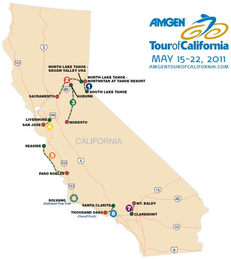 Streckenverlauf der Tour of California