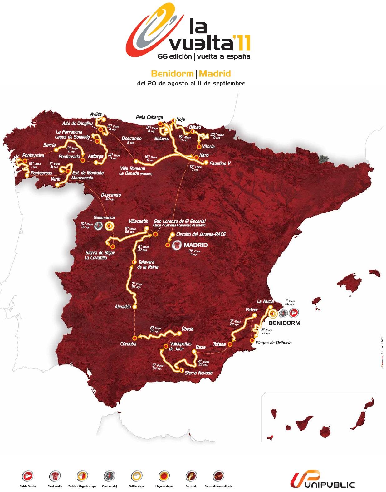 Streckenverlauf Vuelta a España 2011