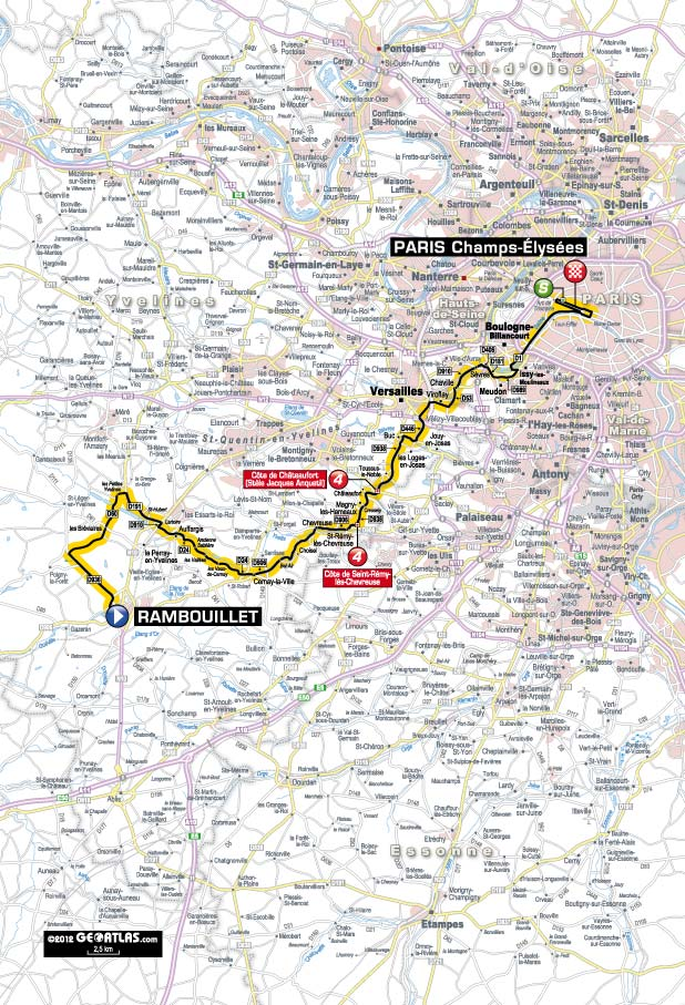 Streckenverlauf Tour de France 2012 - Etappe 20