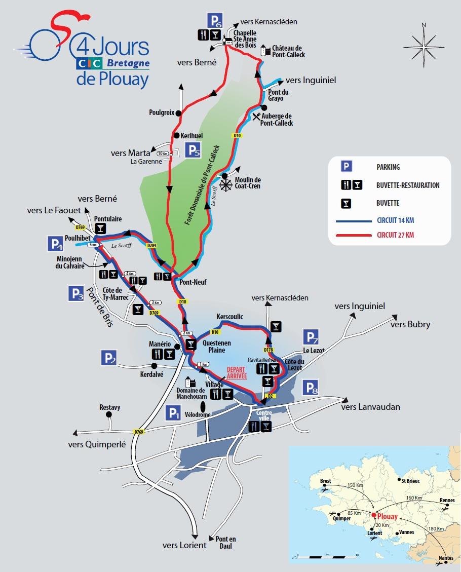 Streckenverlauf GP Ouest France - Plouay 2012