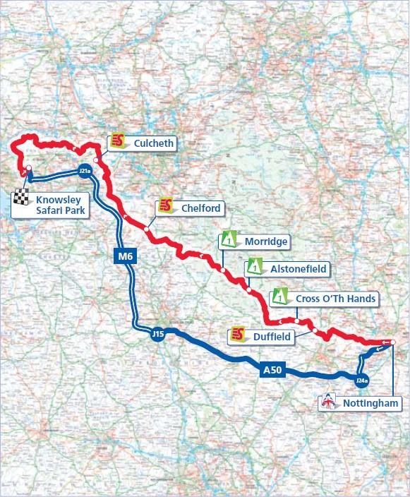 Streckenverlauf Tour of Britain 2012 - Etappe 2