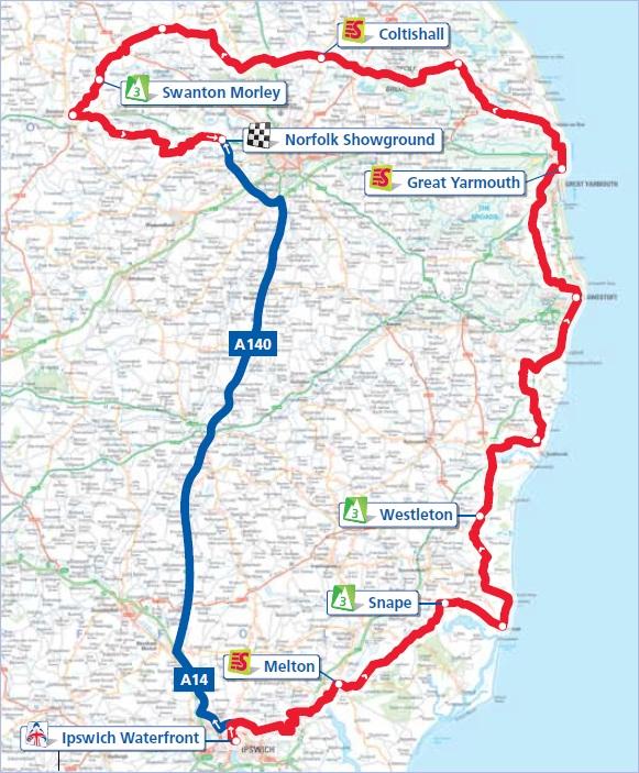 Streckenverlauf Tour of Britain 2012 - Etappe 1