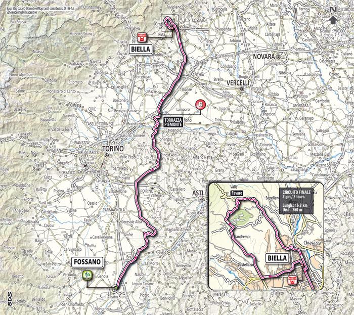 Streckenverlauf Giro del Piemonte 2012