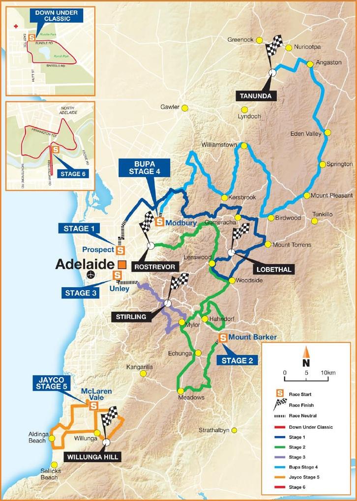 Vorschau 15. Tour Down Under - Streckenkarte