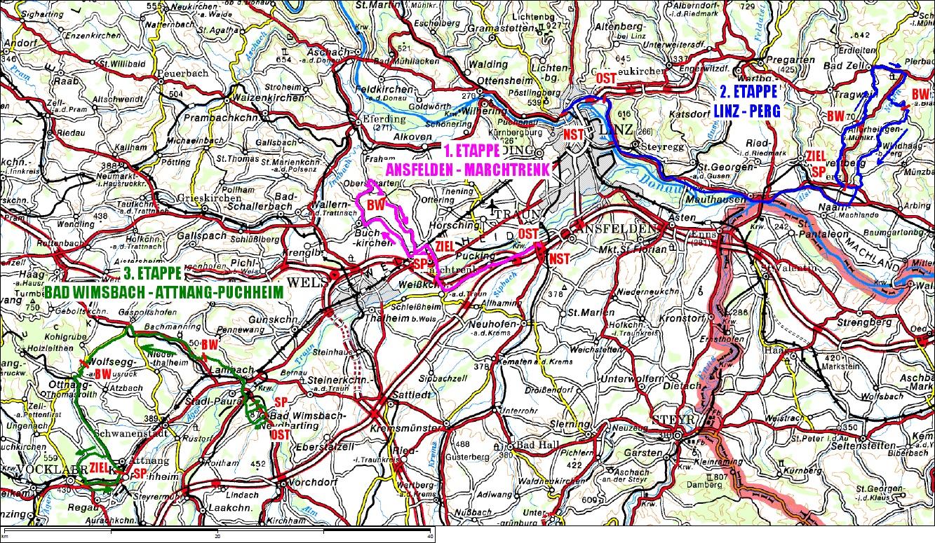 Streckenverlauf Oberösterreich Juniorenrundfahrt 2013
