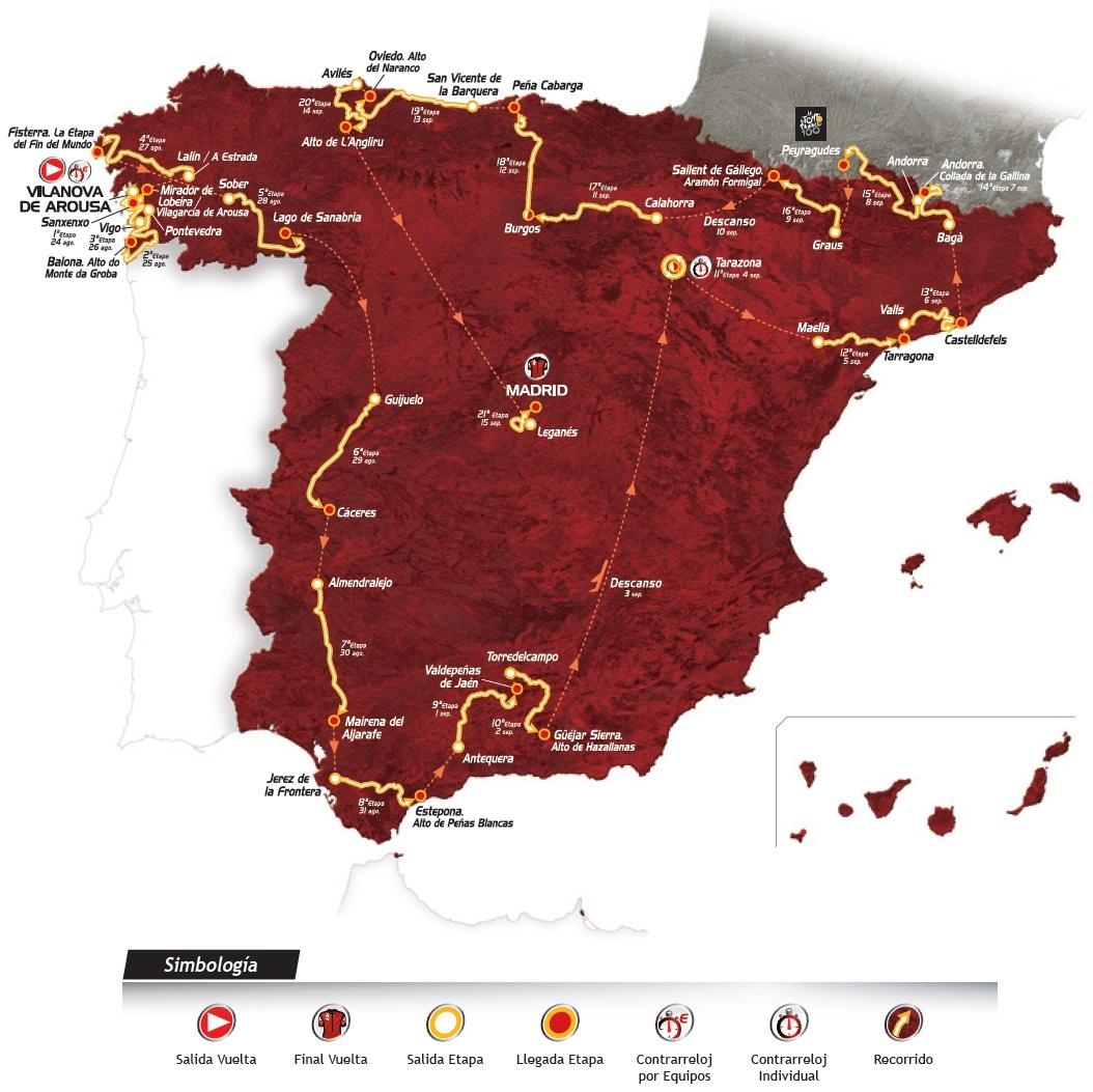 Streckenverlauf Vuelta a España 2013