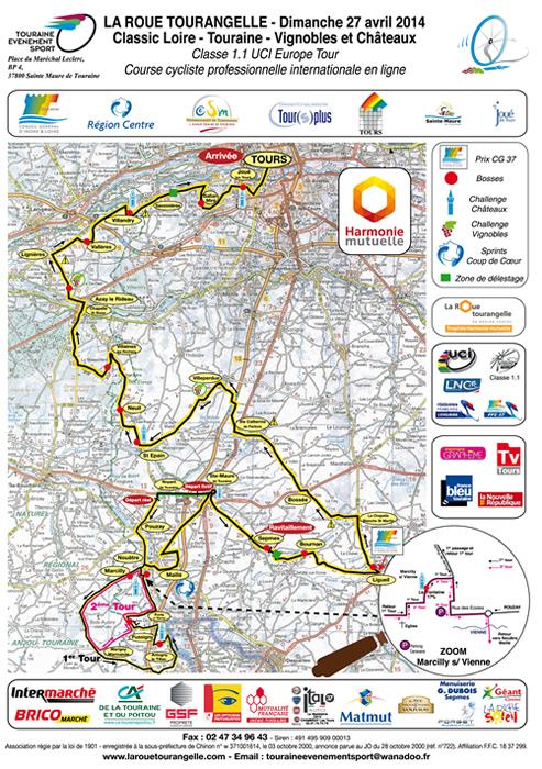 Streckenverlauf La Roue Tourangelle Région Centre - Classic Loire Touraine Vignobles & Chateaux 2014