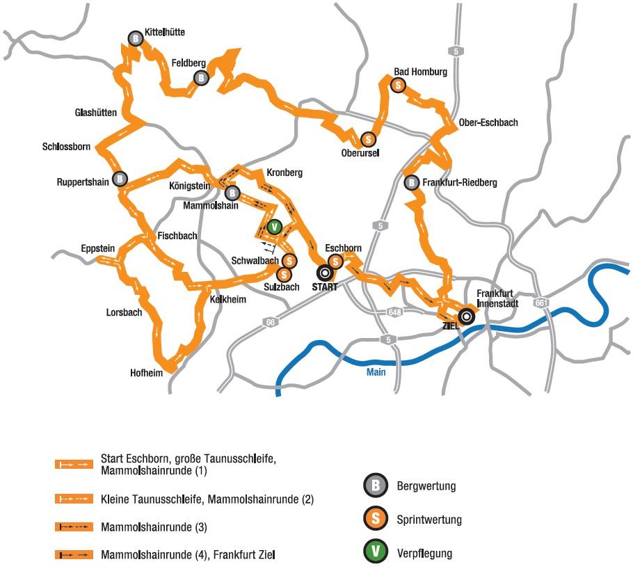Streckenverlauf Rund um den Finanzplatz Eschborn-Frankfurt 2014
