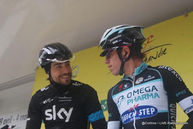 Smalltalk unter alten Teamkollegen - Xabier Zandio und Rigoberto Uran