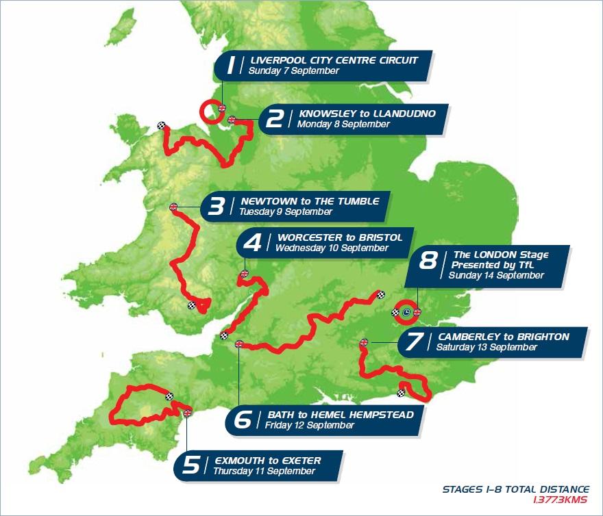 Streckenverlauf Tour of Britain 2014