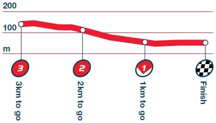 Höhenprofil Tour of Britain 2014 - Etappe 5, letzte 3 km