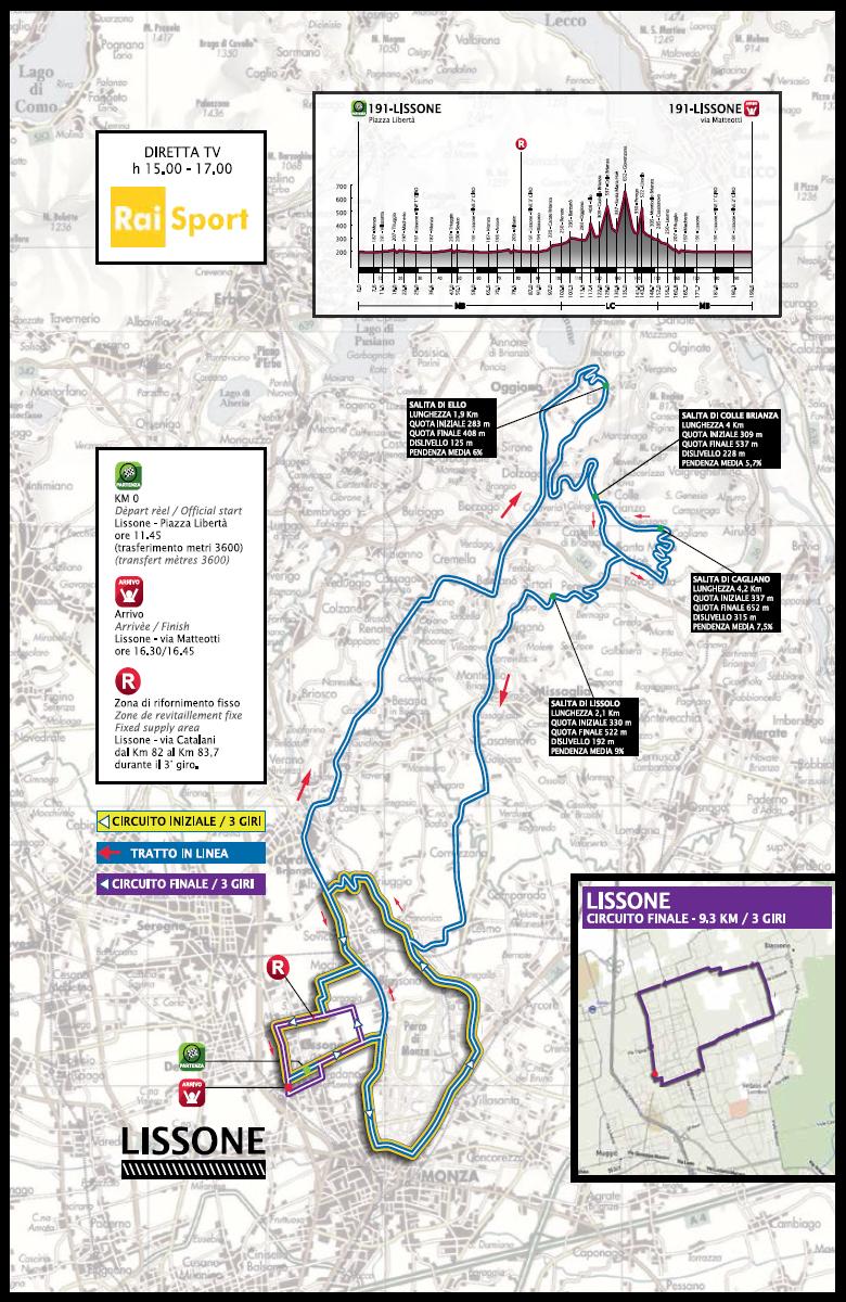 Streckenverlauf Coppa Agostoni - Giro delle Brianze 2014