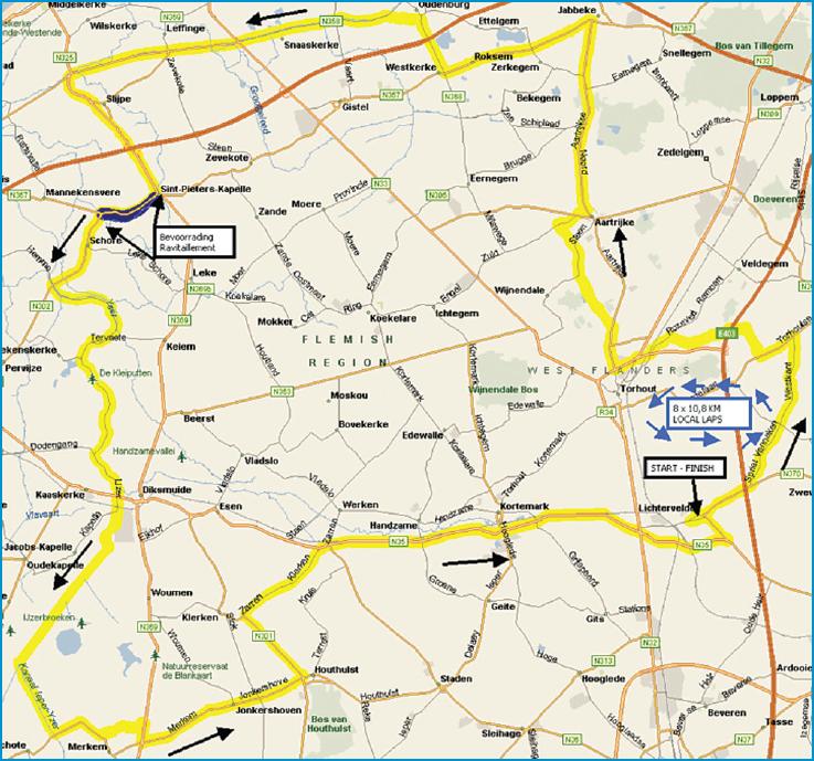Streckenverlauf Omloop van het Houtland Lichtervelde 2014