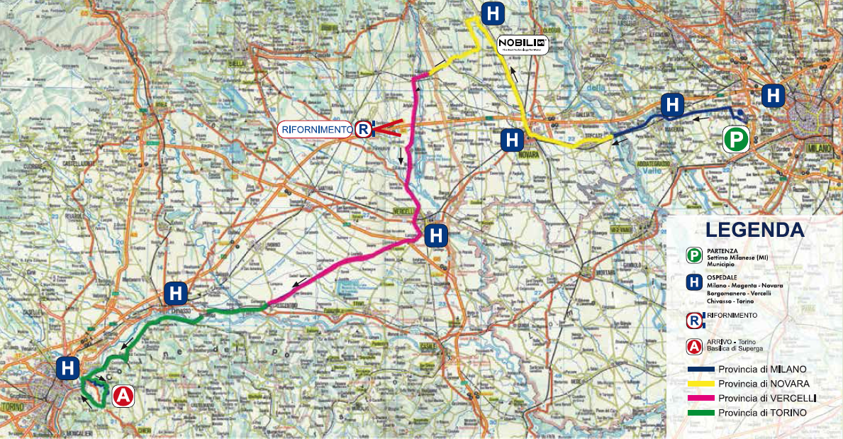 Streckenverlauf Milano-Torino 2014