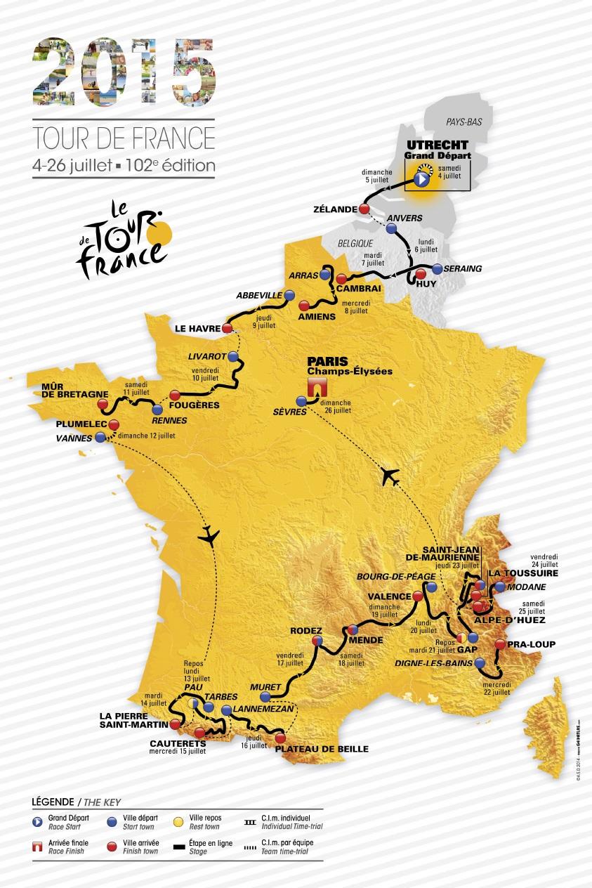Die Streckenkarte der Tour de France 2015