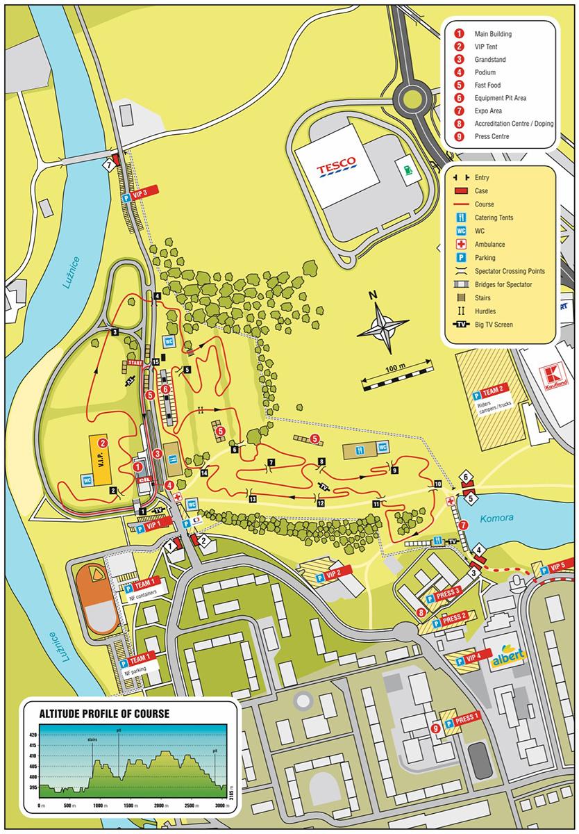 Streckenverlauf & Höhenprofil Radcross-Weltmeisterschaft 2015 in Tabor