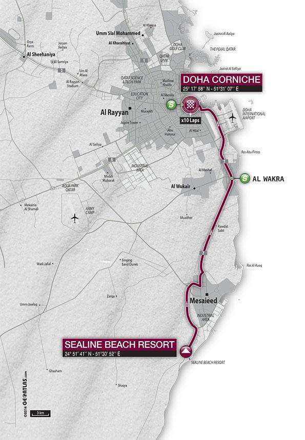 Streckenverlauf Tour of Qatar 2015 - Etappe 6