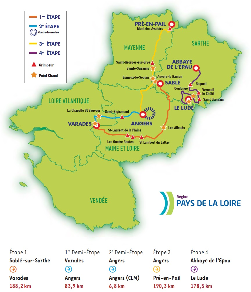 Streckenverlauf Circuit Cycliste Sarthe - Pays de la Loire 2015, Etappe 1