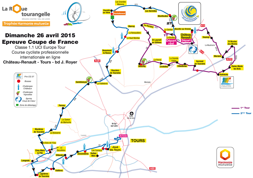 Streckenverlauf La Roue Tourangelle Région Centre - Trophée Harmonie Mutuelle 2015