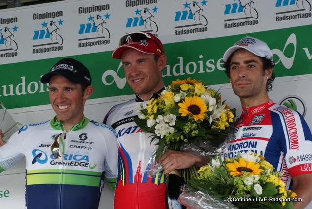 Das Podium des GP des Kanton Aargau 2015 - 2. Michael Albasini - Sieger Alexander Kristoff - 3. Davide Appollonio