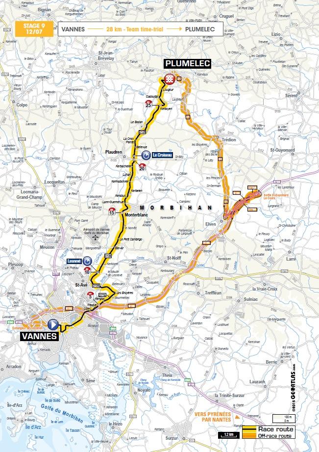 Streckenverlauf Tour de France 2015 - Etappe 9