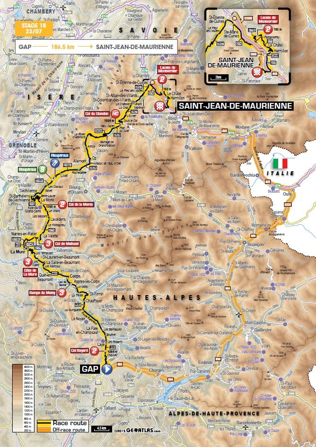 Streckenverlauf Tour De France 2015 Etappe 18