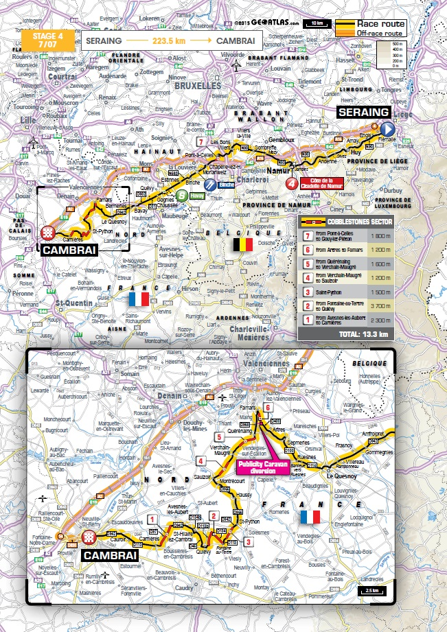 Streckenverlauf Tour de France 2015 - Etappe 4