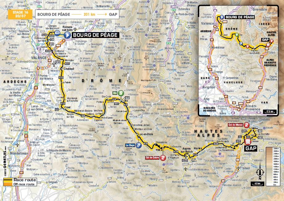 Streckenverlauf Tour de France 2015 - Etappe 16