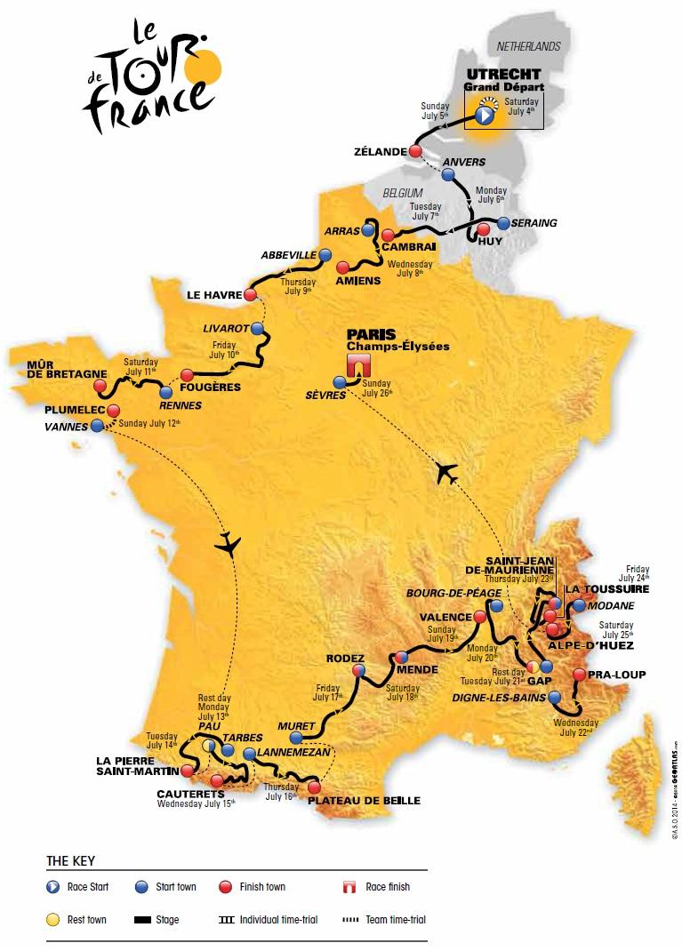 Streckenverlauf Tour de France 2015
