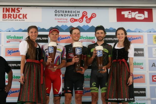 das Podium der 7. Etappe - Eduard Vorganov - Lukas Pöstlberger - Moreno Moser