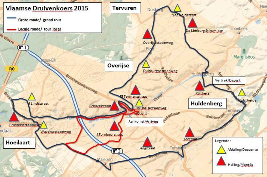 Streckenverlauf Druivenkoers - Overijse 2015