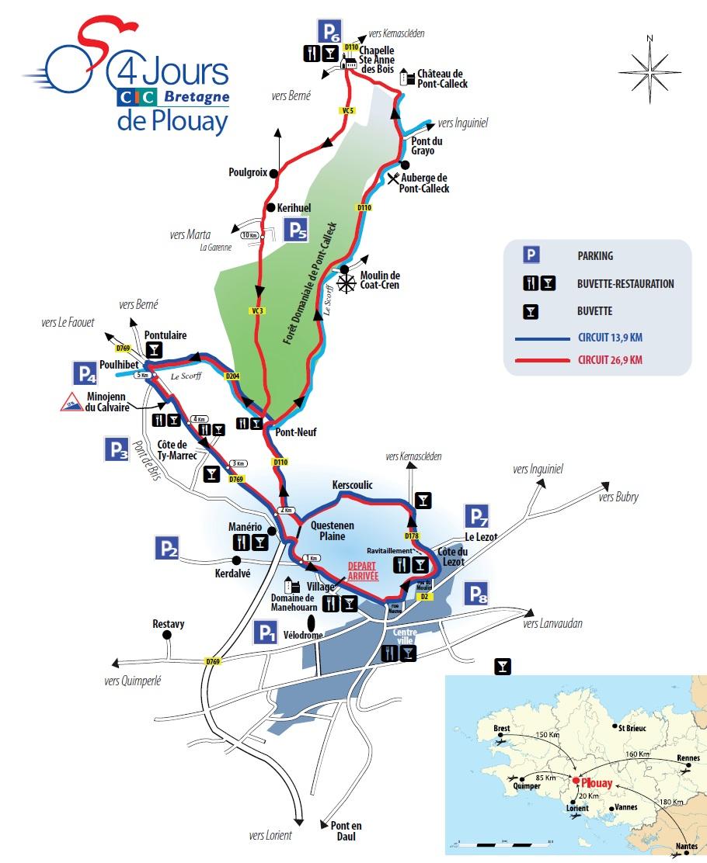 Vorschau 79. GP Ouest France - Plouay, Karte