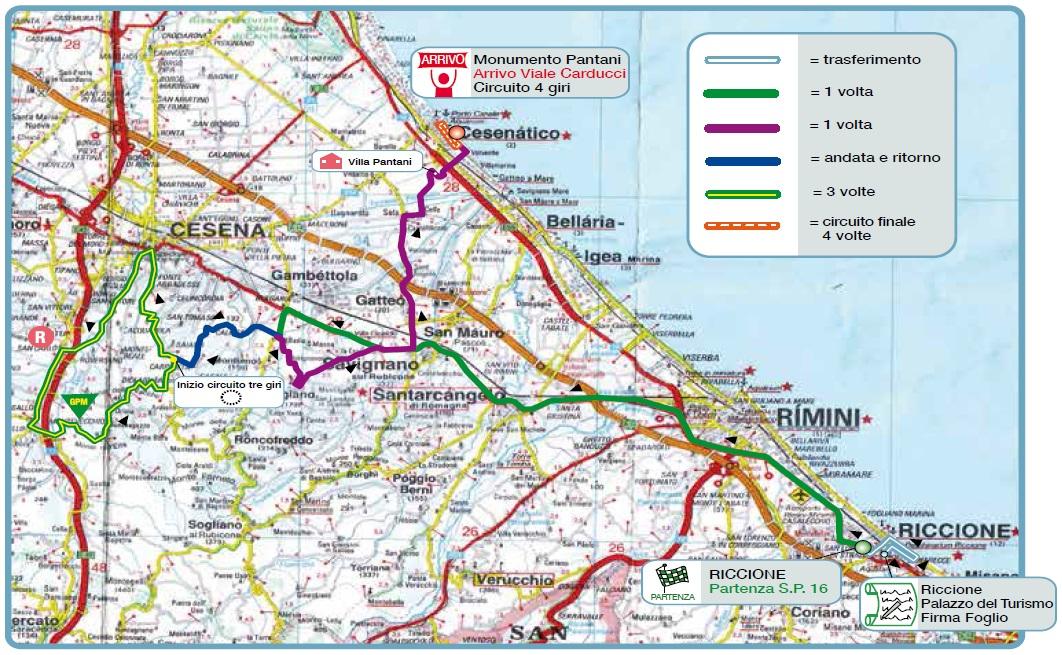 Streckenverlauf Memorial Marco Pantani 2015