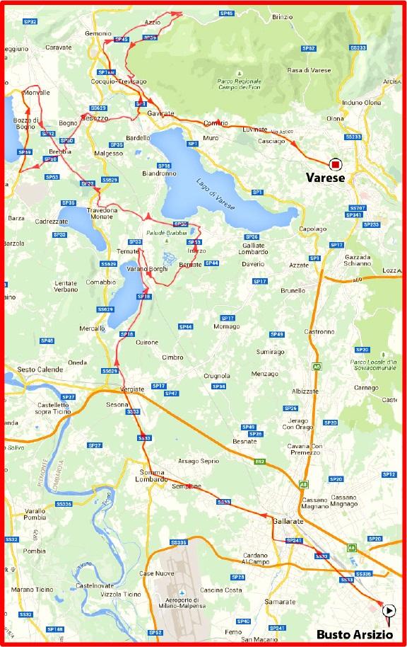 Streckenverlauf Tre Valli Varesine 2015, erste 83,3 km