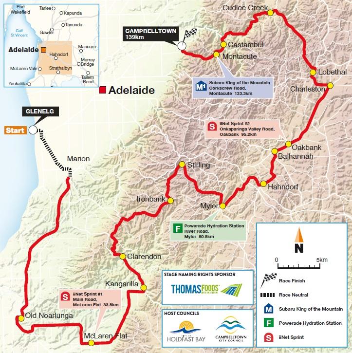 Streckenverlauf Tour Down Under 2016 - Etappe 3