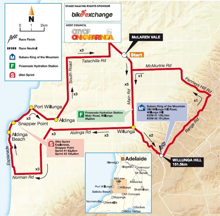 Streckenverlauf Tour Down Under 2016 - Etappe 5