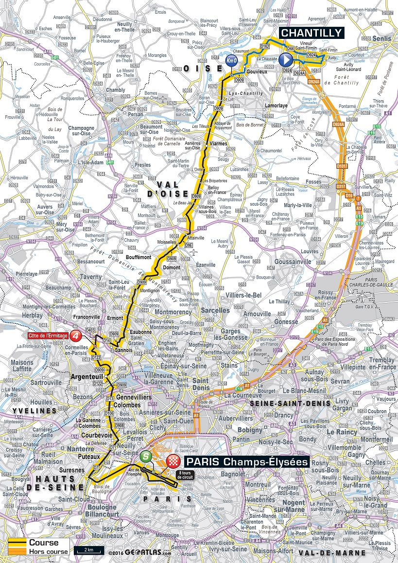 Streckenverlauf Tour de France 2016 - Etappe 21
