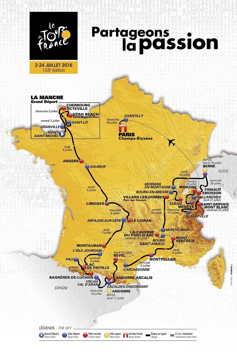 Streckenverlauf Tour de France 2016